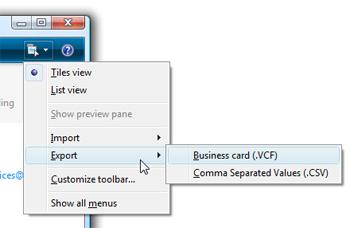 Живые контакты почты меню экспорта