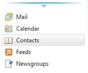 Контакты меню из Live Mail